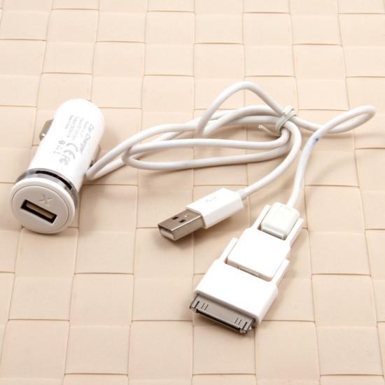 Автомобильное зарядное устройство 3 в 1 для iPhone/micro USB 1000 mAh, арт.008038