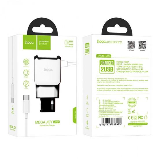 Сетевое зарядное устройство 2 в 1 Hoco C59A на 2 USB, кабель Type C, арт.011252