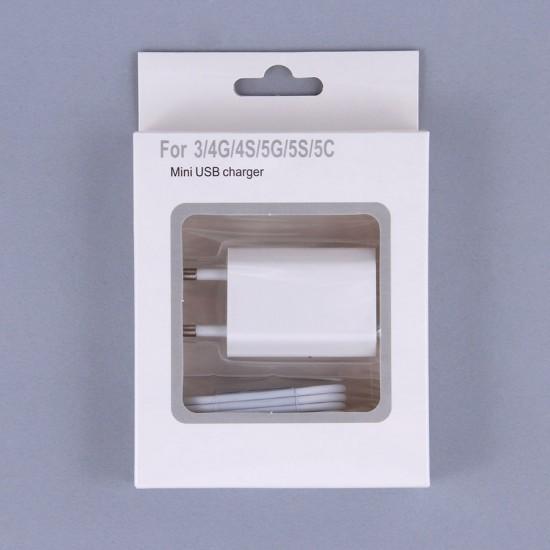 Сетевое зарядное устройство 2 в 1 для iPhone 5/iPad mini/iPod nano7, 1000 mАh, арт.003460