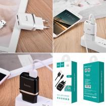 Сетевое зарядное устройство 2 в 1 Hoco C12 для micro USB, арт.010523