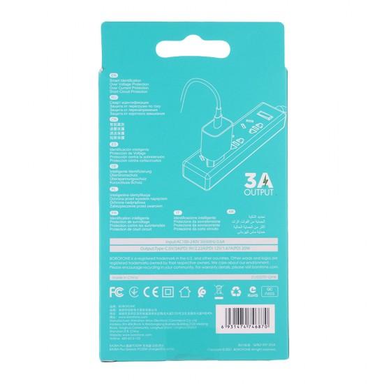 Адаптер быстрой зарядки PD20W Borofone BA38A Plus, 3 А, арт.012660