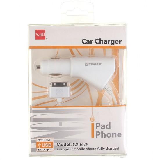 Автомобильное зарядное устройство Yingde для iPhone 4/4S/3G/3Gs 1000 mAh, арт.007858