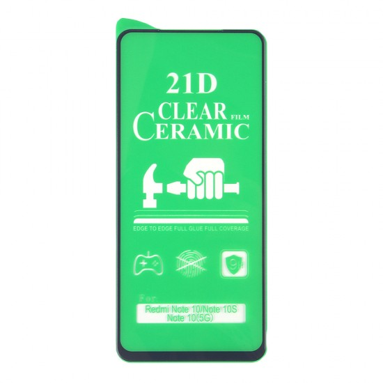 Стекло Ceramic Xiaomi Redmi Note 10 противоударное, в тех.упак. (в комп. 25 шт), арт. 012537