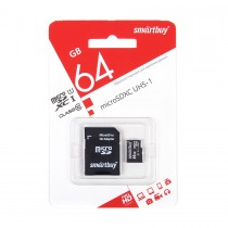 MICRO SD 64Gb Smart Buy Class 10  UHS-I с адаптером SD