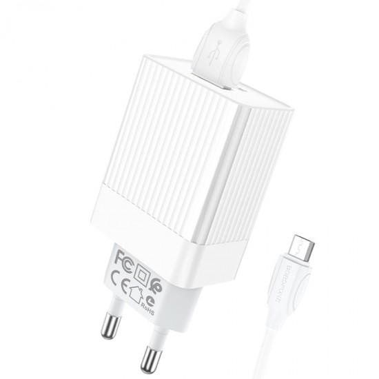 Сетевой адаптер USB micro Borofone BA47A, QC3.0 / QC2.0, 18W, 3 А, арт.012334