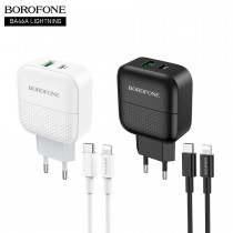 Сетевой адаптер USB Borofone BA46A PD+QC3.0, 3 А, с кабелем Type-C to Lightning, арт.012337