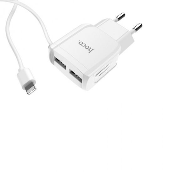 Сетевое зарядное устройство 2 в 1 Hoco C59A на 2 USB, кабель Lightning, арт.011252