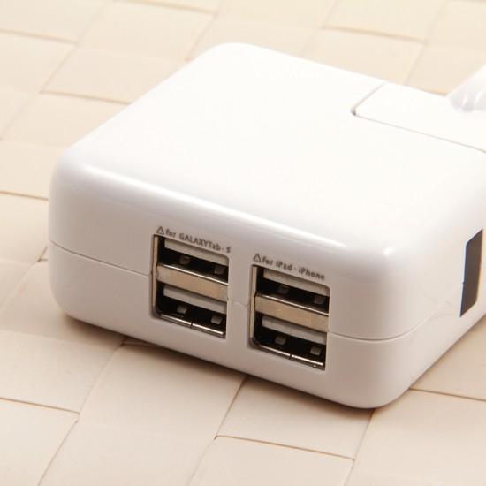 Сетевой адаптер на 4 USB для iPhone/iPad/iPod touch 5/Nano 7, арт.006852/008403
