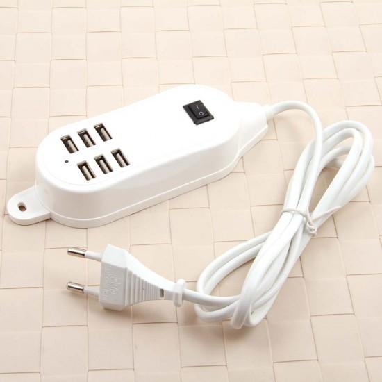 Сетевой адаптер на 6 USB с проводом 1,5 м, арт.007714