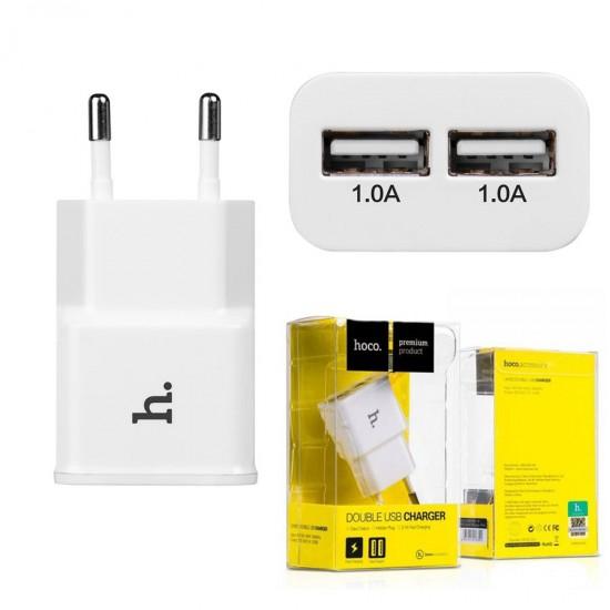 Сетевой адаптер Hoco UH202 на 2 USB, 2.1 А, арт.010625
