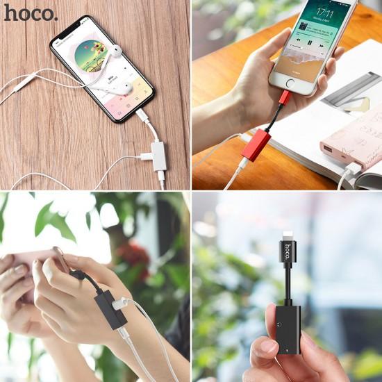 Переходник HOCO LS15 для наушников iPhone 7 с зарядкой, арт.009836