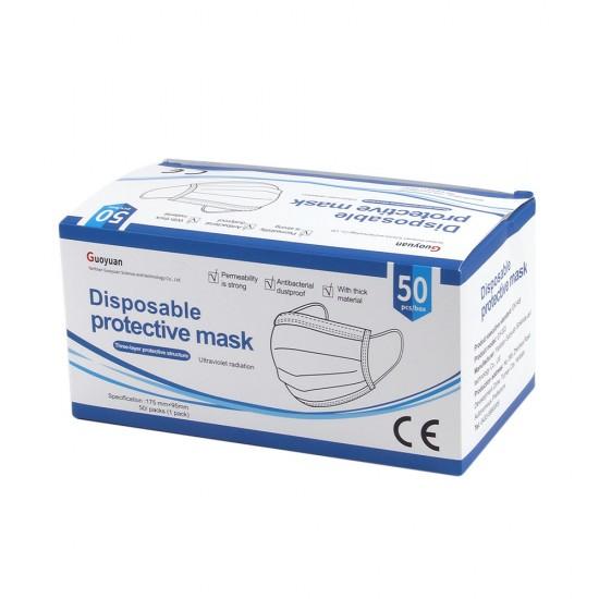 Маска защитная одноразовая для лица (упаковка - 50 шт), арт. 011717