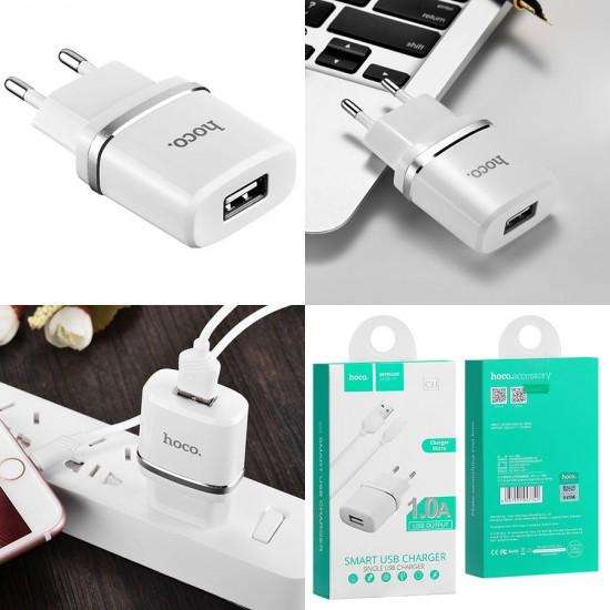 Сетевое зарядное устройство 2 в 1 Hoco C11, 1А, кабель Lightning, арт.010624