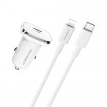 Автомобильный адаптер на USB белый, кабельType-C to Lightning, Borofone BZ12B, 3A, QC3.0, арт.012351