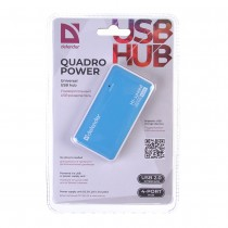 USB Hub разветвитель Defender Quadro Power, 4 порта USB 2.0, арт.012490