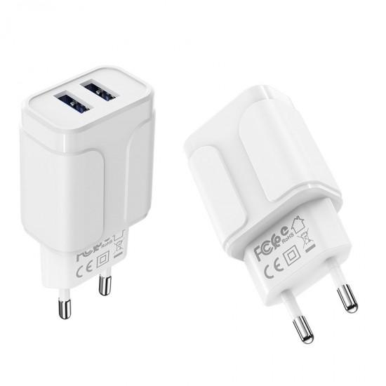 Сетевой адаптер на 2 USB Borofone BA37A, 12W, 2,4А, арт.012342