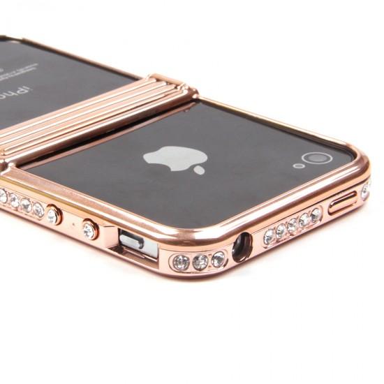Бампер-подставка металлический со стразами для iPhone 4/4S, арт.008597