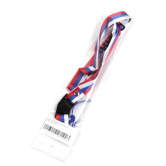Шнурок на шею текстильный Россия триколор,арт.001003