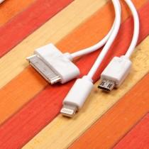 USB дата кабель 3 в 1 для Apple iPhone/micro USB, арт.009485