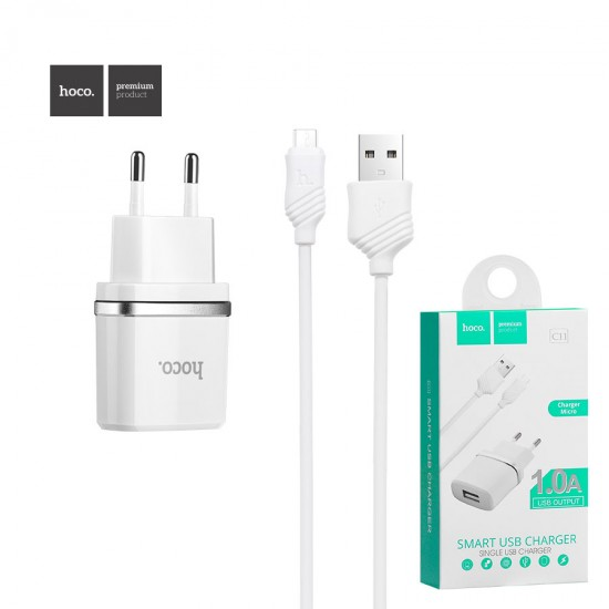 Сетевое зарядное устройство 2 в 1 Hoco C11, 1А, кабель micro USB, арт.010624