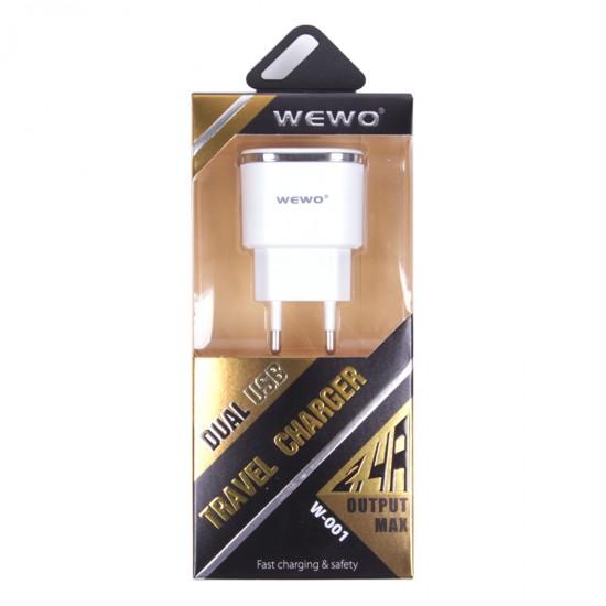 Сетевой адаптер Wewo на 2 USB 2.4 А, арт.010212