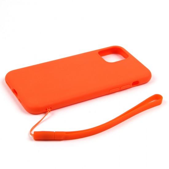 Силиконовый матовый чехол с ремешком для iPhone 11, арт.011397